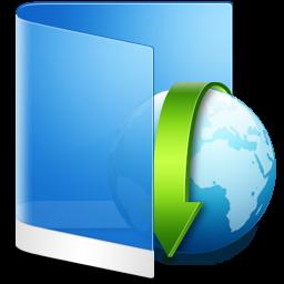 Папка синий значок загрузки. Folder Blue Downloads icon.