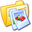 Folder Yellow Pics 2 Icon